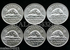 1969 TO 1974 ELIZABETH II 5 CENT SET UNC (6 COINS)