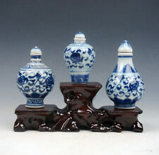 Set Of 3 Blue&White QingHua Porcelain Snuff Bottles w/ Wooden 3-Tiers Stand #2