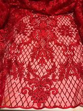 "RED  METALLIC EMBROIDERY SEQUINS BEIDAL LACE FABRIC 50"" WiIDE 1 YARD"