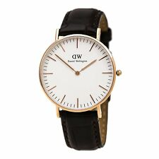 Daniel Wellington Gold Plated Women's Watch Classic York Lady with Leather Strap