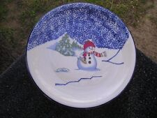 Thomson Snowman Blue Sky Rim Green Trees White Red Hat Scarf Snow Dinner Plate