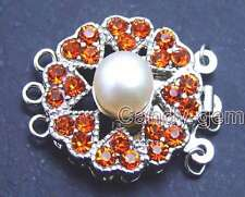 SALE Big 8-9mm Natural White pearl 25mm Round 3 Strands Clasp  Red crystal-gp179