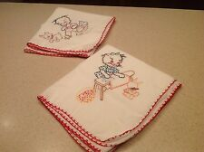 Vintage Embroidered Dish Tea Towels Cats Chores Bunny Dog Group of 2 Towels