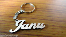 Personalized Janu Name Steel Coated Keychain Handcarved Key chain For Special On