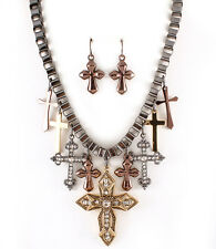 Chunky Cross Dangle Charms Cut Outs Crystal Box Chain Necklace&Earrings
