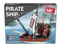CHILDRENS 137 PIECE PIRATE GALLEON SHIP BOAT BUILDING BRICKS MODEL TOY (TY8116)