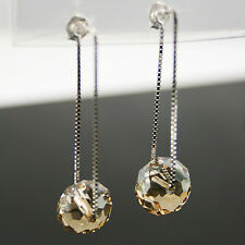 Champagne Gold Crystal 12mm Wheel Bead 925 Silver Dangling Earrings Threader