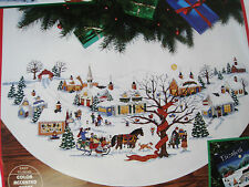 Dimensions Counted Cross Tree Skirt Craft KIT,CHRISTMAS VILLAGE,Wysocki,8472,45""