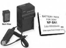 630mAh Battery + Charger for Sony NP-BN1 NPBN1 DSC-T99