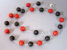 KORALLE rot & LAVA schwarz leichte und luftige HALSKETTE 52 cm Schlisse Silber