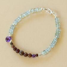 U&C Sundance Baby Blue Aquamarine & Black Welo Opal Amethyst 925 Silver Bracelet