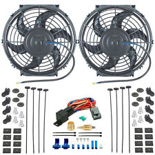 "DUAL 10"" INCH ELECTRIC RADIATOR COOLING FANS 1/2"" 3/8"" FAN GROUND THERMOSTAT KIT"