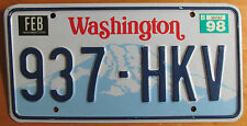 Washington 1998 License Plate NATURAL # 937-HKV