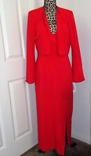 BANU Paris 2 pc set Red Maxi Backless Lined Dress & Cropped Shrug Jacket Size 10