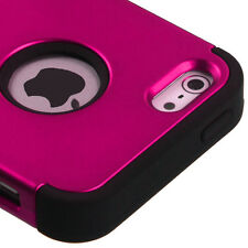 For Apple iPhone 5S SE -PINK BLACK Hybrid Shockproof Hard&Soft Rugged Cover Case