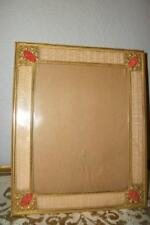 RARE ANTIQUE FRENCH CHIC JEWELED CABOCHONS ORMOLU 20s PICTURE FRAME SATIN MOIRE