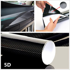 "Black 15""x40"" 5D Ultra Shiny Gloss Glossy Carbon Fiber Vinyl Wrap Sticker Decal"
