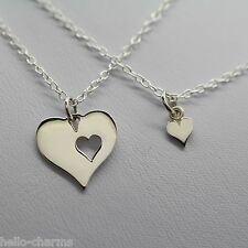 MOTHER DAUGHTER TWO HEARTS NECKLACE - 925 Sterling Silver - Two Charm Necklaces