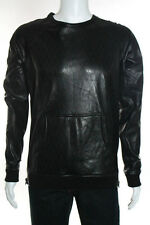 En Noir Men's Black Leather Laser Cut Crewneck Shirt Size Large New $1450 085276