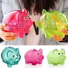 Clear Cute PIGGY Bank Coin Money Plastic Cash Openable Saving Box Kid Pig Gift