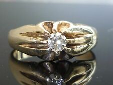 Stunning Heavy 9ct gold 0.25ct Brilliant cut gents solitaire diamond ring M2