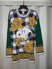 NEW VINTAGE SNOOPY & FRIENDS SUNFLOWERS SWEATER SZ MEDIUM M NICE!
