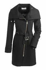 NWT Esprit Women's Designer Fashion Black Wool Long Coat, size 2, RTL: $389