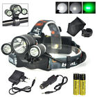6000LM 3x XML T6+2R5 GREEN LED Headlamp 2X18650 Bicycle Head Light Torch+Charger