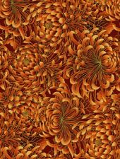 Fabric #2149 Red Mums on Burgundy Gold Metallic Kona Bay End of Bolt at 38 In.