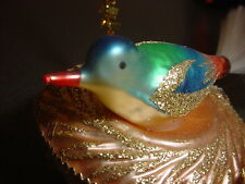 Vintage Glass Bird in Nest Ornament