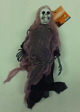 HALLOWEEN HANGING SKELETON GOBLIN REAPER SKULL SCARY DECORATION PURPLE CHAINS
