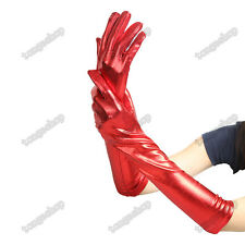 Sexy Women's Long Gloves Wetlook Shining Spandex Covered w Latex Club Party Wear