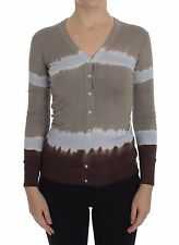 NWT $560 DOLCE & GABBANA Beige Striped Silk Sweater Cardigan Pullover Top s. XS