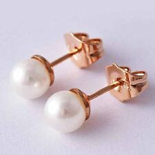 Grils Gift Jewelry White Pearl ball Rose gold plated Womens Small Stud Earrings