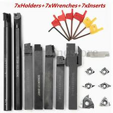 7 Set 12mm Shank Lathe Turning Tool Holder Boring Bar+7 DCMT CCMT Carbide Insert