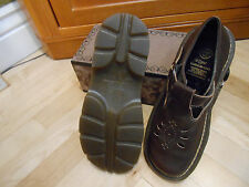 Vintage 90s Dr Martens Mary Jane T-Strap Shoes  Brown Leather Sizing UK 6 ~ US 8