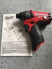 "New Milwaukee 2453-20 FUEL M12 1/4"" Hex Impact Driver Bare Tool 12-Volt 12v"