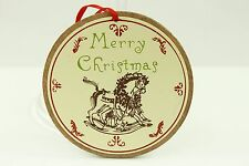 Vintage Round Wooden Rocking Horse Christmas Ornament Holiday Tree Decoration