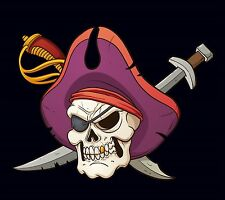 PIRATE FLAG PURPLE HAT EYE PATCH JOLLY ROGER SKULL AND CROSS SWORDS 3'X5' FEET