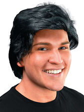 Mens 70s 80s Black Side Parting Teenage Model Ken Wig Fancy Dress Accessory New