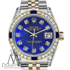 Women's Rolex 31mm Datejust 2Tone Blue Treated MOP Dial with Sapphire & Diamonds