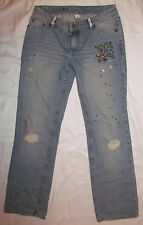FREE PEOPLE ANTHROPOLOGIE patchwork torn sequin rhinestone embellished jeans 28