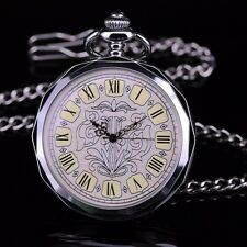 LARGE ROMAN NUMERALS DIAL OPEN FACE SILVER HAND WIND POCKET WATCH FOR MEN