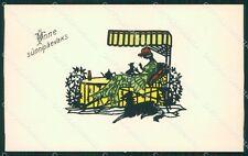 Glamour Lady Borzoi dog Silhouette UNGLUED postcard cartolina QT6137