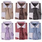 French cuff Checks Dress Shirt with cuff links and Matching tie&handkerchief 615