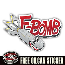 F bomb military racing sticker decal vw euro hotrod 110mm x 70mm