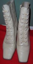 Granny Victorian Button Up Zip ANKLE BOOTS Off White Cream Woman Sz 10M