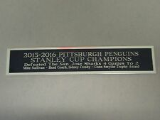 Pittsburgh Penguins 2015-16 Stanley Cup Nameplate Hockey Jersey Case 1.25 X 6