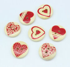 30PC Mixed Wooden Buttons Red Heart Pattern Fit Sewing DIY Scrapbook 20mm