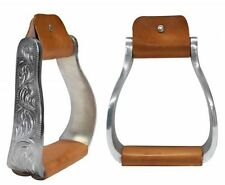 "Western Horse Saddle Aluminum Engraved Off Set Stirrups 4.75"" Wide Stirrups"